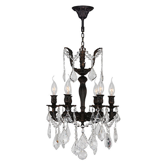 Versailles Collection 6 Light Flemish Brass Finishand Clear Crystal Mini Chandelier