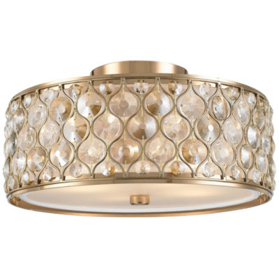 Paris Collection 4 Light with Clear and Golden Teak Crystal Flush Mount Ceiling Light