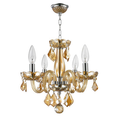 Clarion Collection 4 Light Mini Chrome Finish andCrystal Chandelier