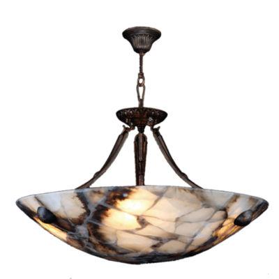 "Pompeii Collection 4 Light Flemish Brass Finish and Natural Quartz Bowl Pendant 16"" D x 18"" H Small"""