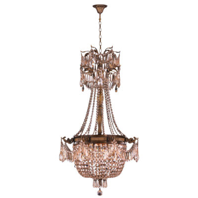Winchester Collection 4 Light Antique Bronze Finish and Golden Teak Crystal Chandelier