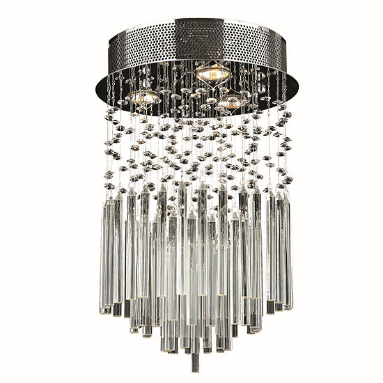 """Torrent Collection 3 Light 12"""" Chrome Finish and Clear Crystal Round Flush Mount Ceiling Light"""""""