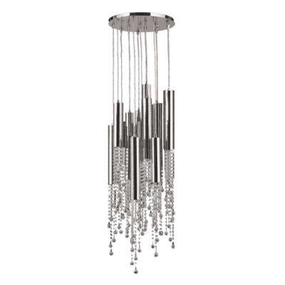 Metropolis Collection 15 Light Halogen Chrome Finish and Clear Crystal Flush Mount