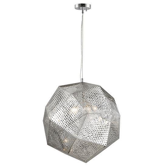 "Geometrics Collection 5 Light 24"" Stainless Steel Pendant"