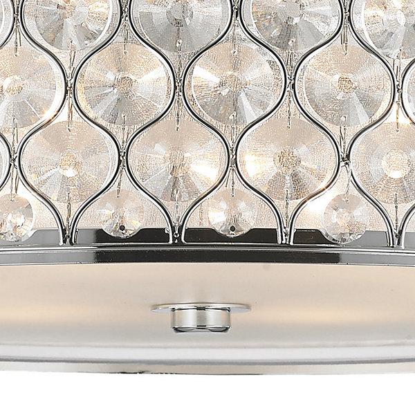 "Paris Collection 6 Light Polished Chrome Finish with Clear Crystal Flush Mount Ceiling Light D24""H8"""