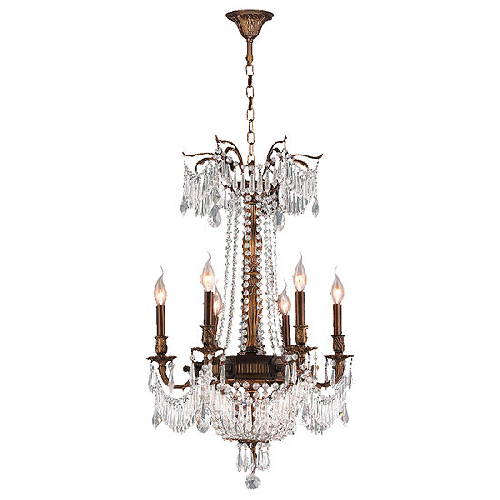 Winchester Collection 9 Light Antique Bronze Finish and Crystal Chandelier