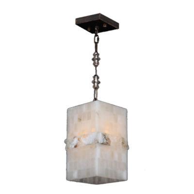Pompeii Collection 1 Light Mini Flemish Brass Finish and Natural Quartz Rectangle Pendant
