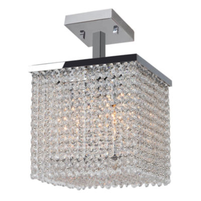 "Prism Collection 4 Light 10"" Square Chrome Finishand Clear Crystal Semi-Flush Ceiling Light"""