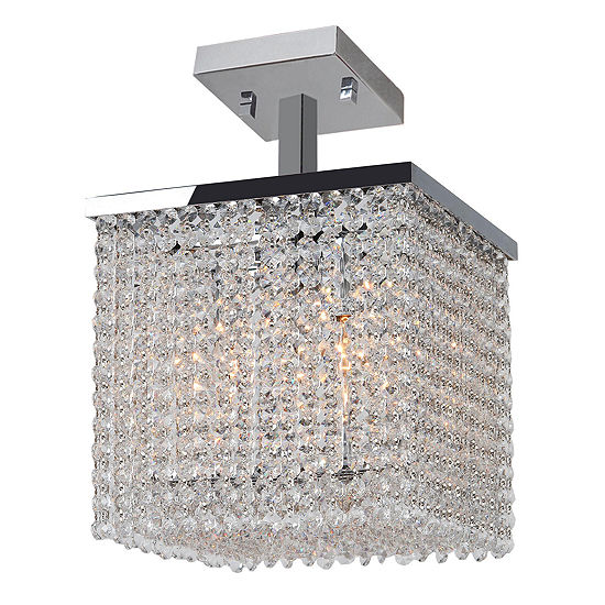 """Prism Collection 4 Light 10"""" Square Chrome Finishand Clear Crystal Semi-Flush Ceiling Light"""""""