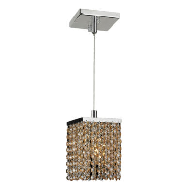 Prism Collection 1 Light Chrome Finish and CrystalSquare Mini Pendant