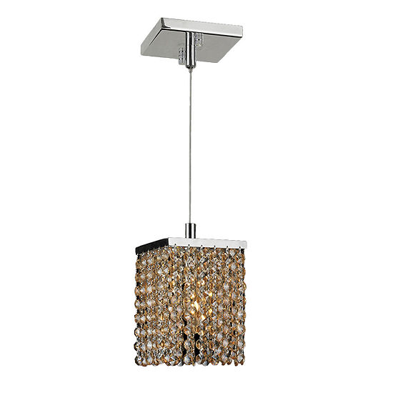 Prism Collection 1 Light Chrome Finish and Crystal Square Mini Pendant