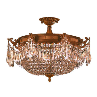 Winchester Collection 4 Light Golden Teak CrystalSemi Flush Mount Ceiling Light