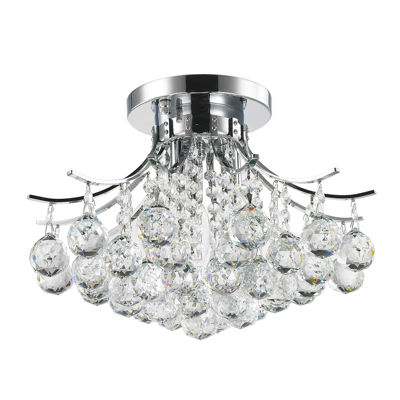 Empire Collection 3 Light Round Clear Crystal Flush Mount Ceiling Light