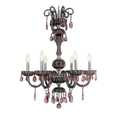 "Carnivale Collection 6 Light Chrome Finish and Cranberry Red Crystal Chandelier 25"" D x 32"" H Large"""