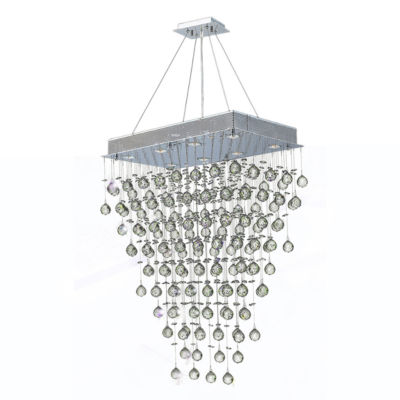 Icicle Collection 8 Light Chrome Finish and ClearCrystal Rectangle Chandelier
