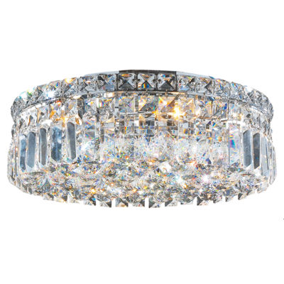 "Cascade Collection 5 Light 5.5"" Round Chrome Finish and Clear Crystal Flush Mount Ceiling Light"""