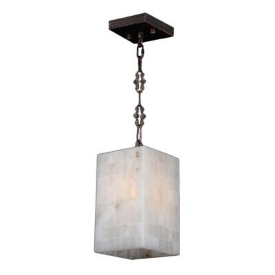 Pompeii Collection 1 Light Mini Flemish Brass Finish and Natural Quartz Square Pendant