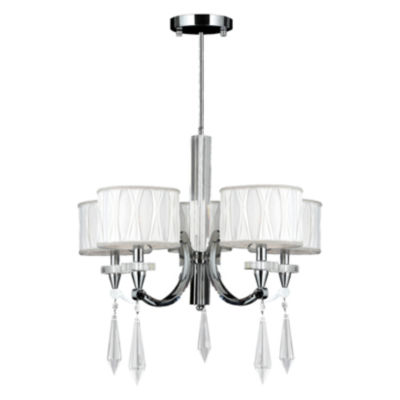 Cutlass Collection 5 Light Arm Chrome Finish and Clear Crystal Chandelier with White Fabric Shade