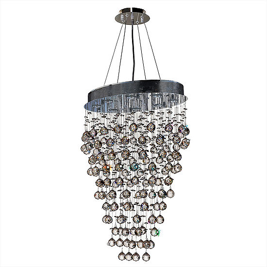 Icicle Collection 8 Light Chrome Finish And Clear Crystal Oval Chandelier
