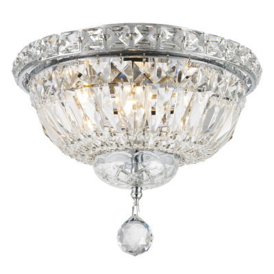 """Empire Collection 4 Light 10"""" Round Clear CrystalFlush Mount Ceiling Light"""""""
