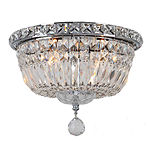 "Empire Collection 4 Light 10"" Round Clear Crystal Flush Mount Ceiling Light"""