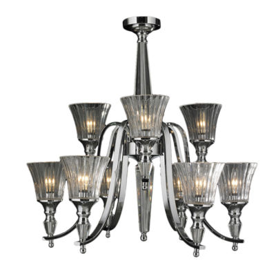 Innsbruck Collection 9 Light 2-Tier Chrome Finishand Clear Crystal Candle Chandelier