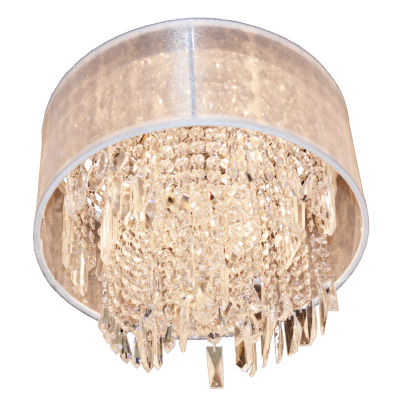 Tempest Collection 4 Light Chrome Finish Crystal Flush Mount Ceiling Light with Organza Shade