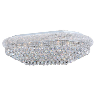 Empire Collection 24 Light Clear Crystal Flush Mount Rectangle Ceiling Light