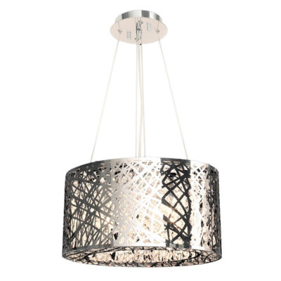 Aramis Collection 9 Light Chrome Finish and Clear Crystal Drum Chandelier