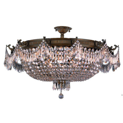 Winchester Collection 12 Light Clear Crystal Semi Flush Mount Ceiling Light