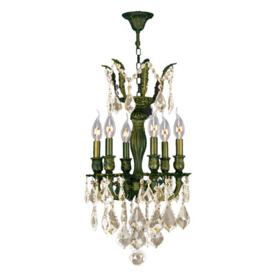 Versailles Collection 6 Light Mini Antique BronzeFinish and Crystal Chandelier