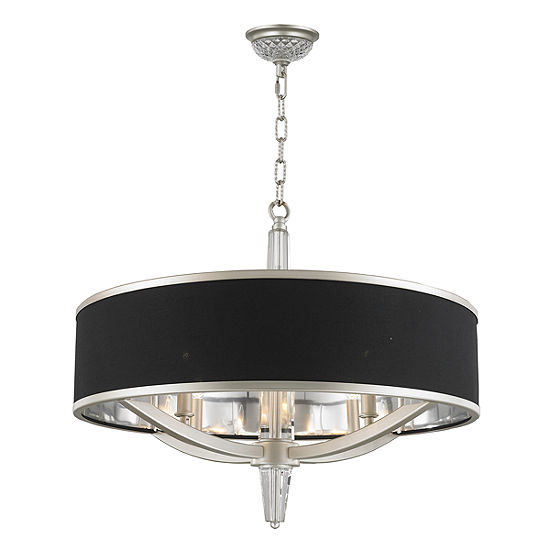 """Gatsby Collection 4 Light Matte Finish with Black Drum Shade Chandelier 26"""" D x 26"""" H"""""""