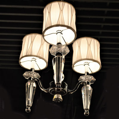 Gatsby Collection 3 Light Chrome Finish and ClearCrystal Chandelier with White Fabric Shade