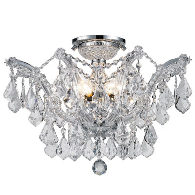 Bayou Collection 6 Light Chrome Finish and Clear Crystal Semi-Flush Mount Ceiling Light