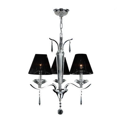 Gatsby Collection 3 Light Arm Chrome Finish and Clear Crystal Chandelier with Black String Shade
