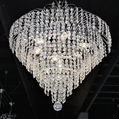 Empire Collection 7 Light Medium Round Chrome Finish Crystal Chandelier