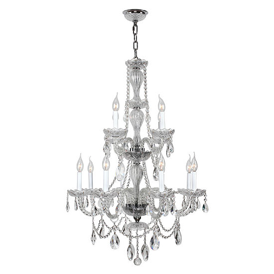 Provence Collection 12 Light 2-Tier Clear Crystal Chandelier
