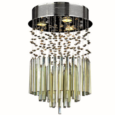"Torrent Collection 3 Light 12"" Chrome Finish and Golden Teak Crystal Round Flush Mount Ceiling Light"""