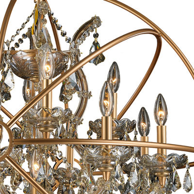 Armillary Collection 13 Light Matte Gold Finish and Golden Teak Crystal Foucault's Orb Chandelier