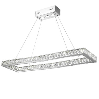 NEW Galaxy 19 LED Light Chrome Finish and Clear Crystal Rectangle Dimmable Chandelier