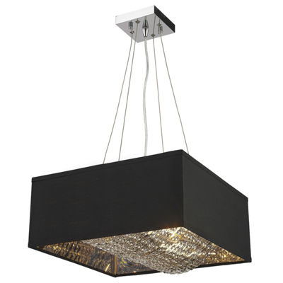 "Ritz Collection 5 Light Matte Silver finish with Black Shade Square Pendant L16"" W16"" H8"""