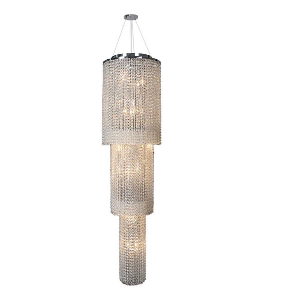 Prism Collection 18 Light Chrome Finish and ClearCrystal Cascading Round Chandelier