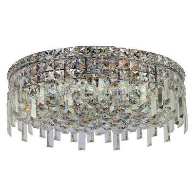 "Cascade Collection 6 Light 7.5"" Round Chrome Finish and Clear Crystal Flush Mount Ceiling Light"