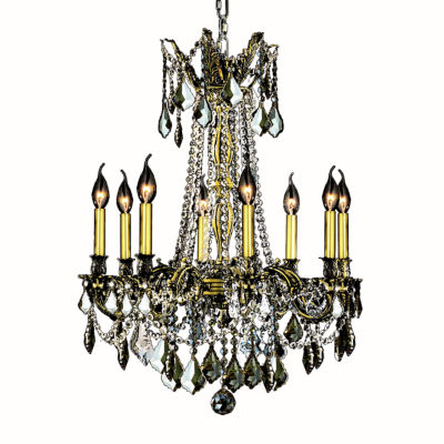 Windsor Collection 8 Light Golden Teak Crystal Chandelier