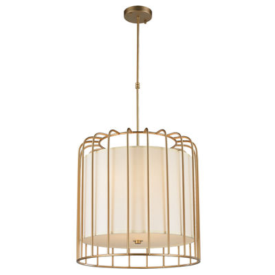 Sprocket Collection 9 Light Metal Cage Pendant Light with Ivory Shade