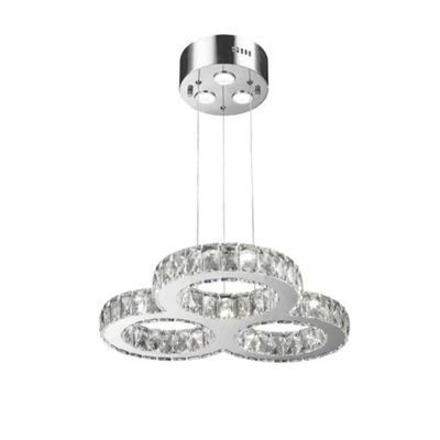Galaxy 20 LED Light Chrome Finish and Clear Crystal Triple Ring Dimmable Chandelier