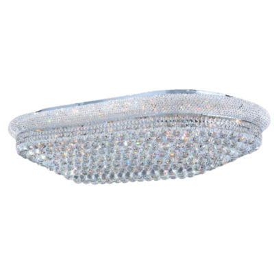 Empire Collection 28 Light Clear Crystal Rectangle Flush Mount Ceiling Light