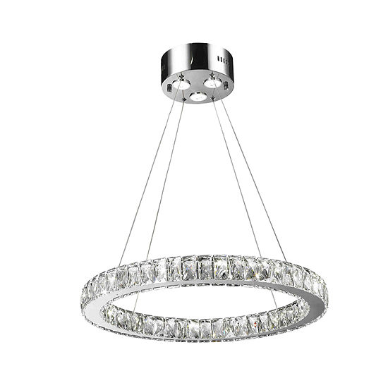 Galaxy 15 LED Light Chrome Finish and Clear Crystal Circular Ring Dimmable Chandelier