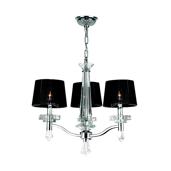 Gatsby Collection 3 Light Arm Chrome Finish and Clear Crystal Chandelier with Black String Drum Shade