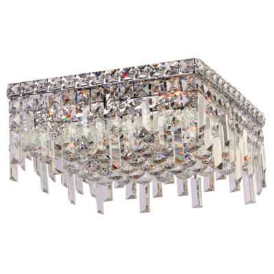 "Cascade Collection 4 Light 7.5"" Square Chrome Finish and Clear Crystal Flush Mount Ceiling Light"""